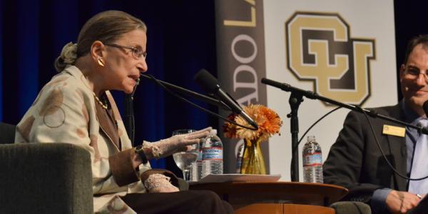 Supreme court Justice Ruth Bader Ginsberg speaking at CU