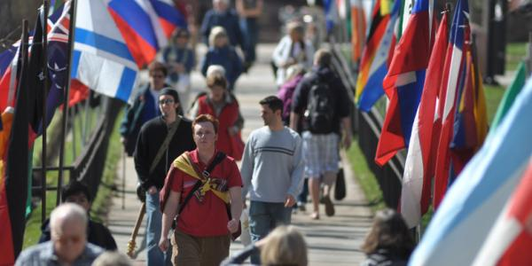 Flags on CU campus during World Affairs Conference