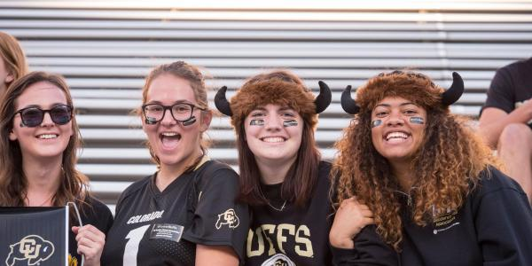 Students in CU Buffs gear