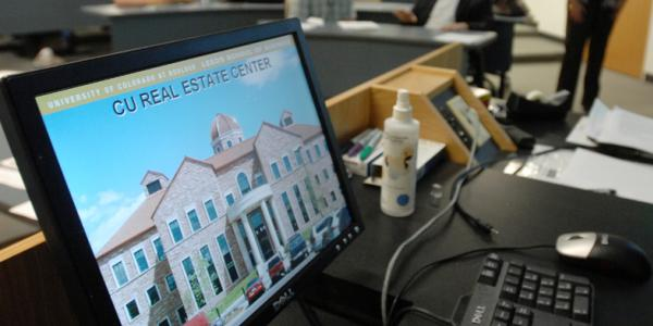 Computer screen showing CU Real Estate Center