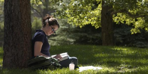 Girl reading by a tree
