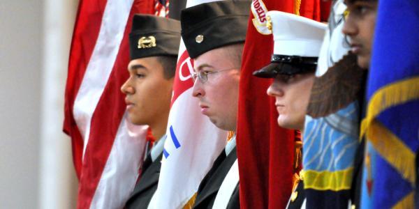 Military honoring veterans day