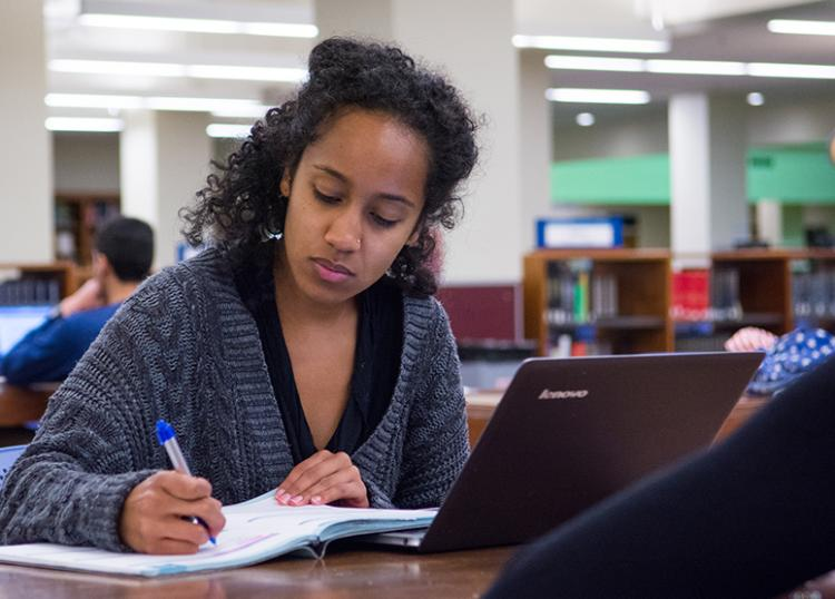 Student working on an assignment