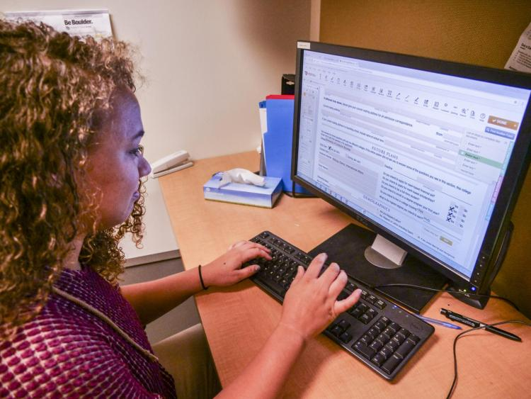 Student completing the Common Application