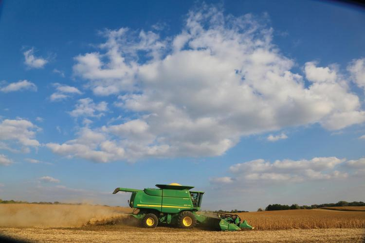 Farming equipment operating in a field