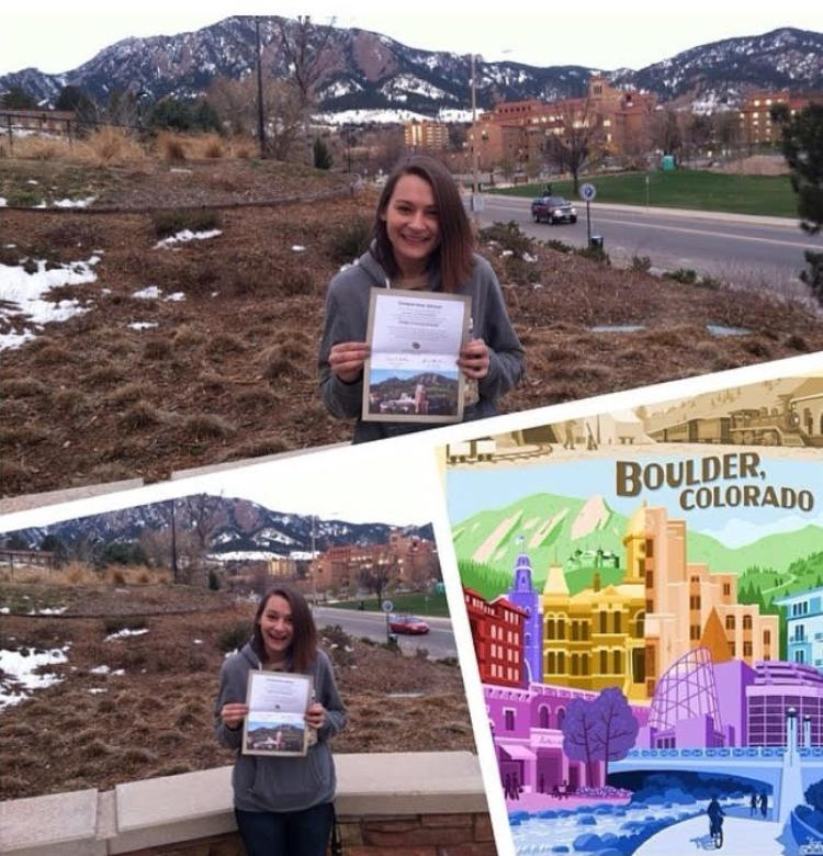 Christine with her acceptance letter