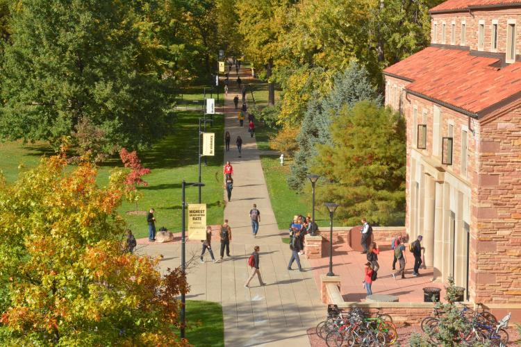Students walking on the CU Boulder campus