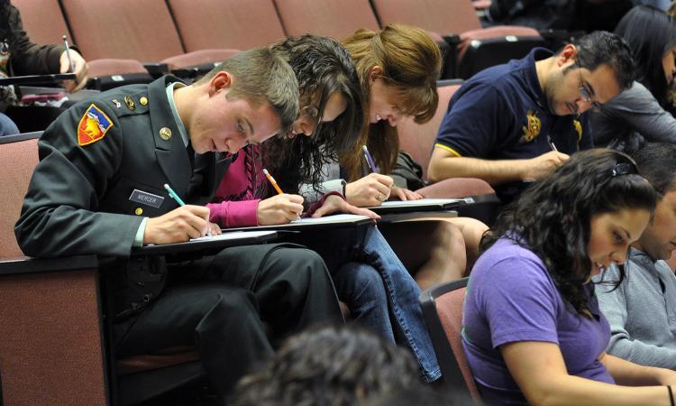 Student veteran in class