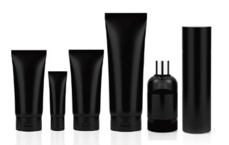 Blacked out containers like those used for shampoos, lotions and similar household products