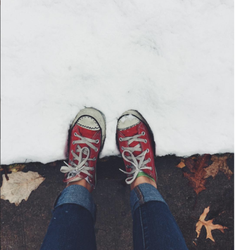 My (unprepared) feet for last year's first snow