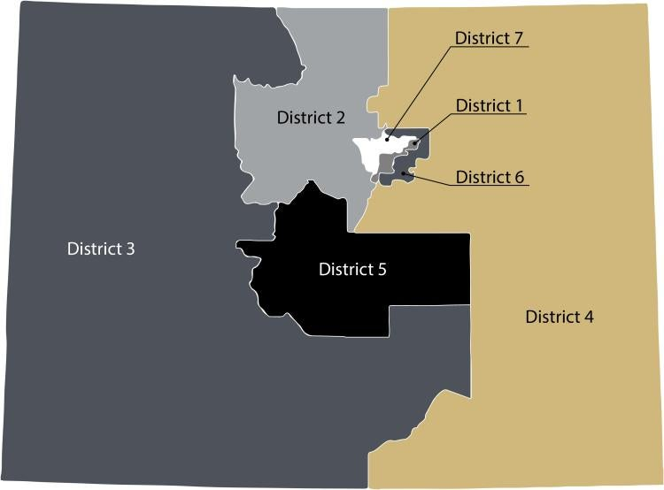 Congressional districts one, two, three, four, five, six, seven
