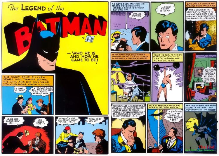 Batman's origin story, original comic book image