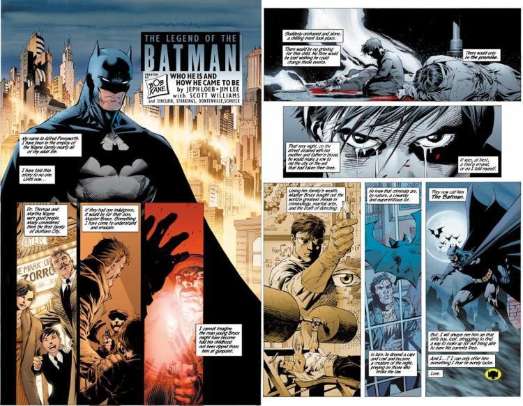 Batman's origin story, original comic book image of updated version