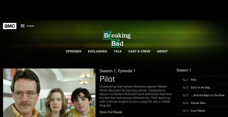 AMC Website Breaking Bad Page