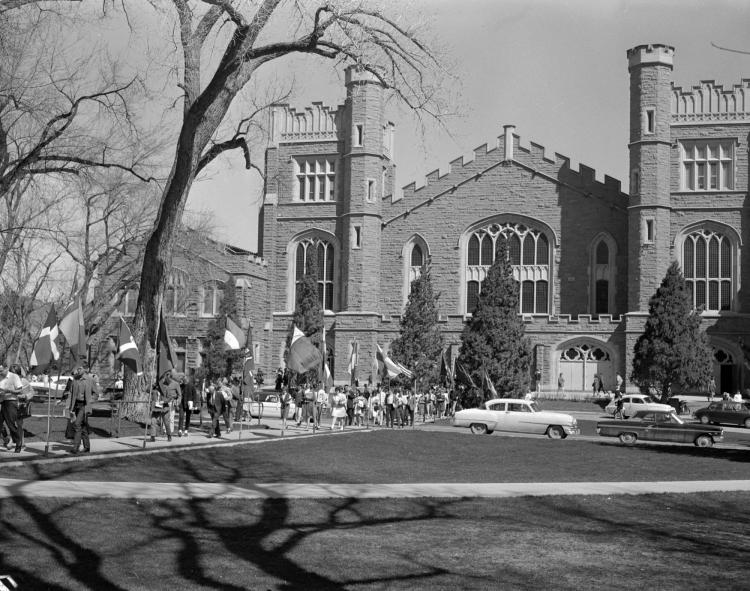 Conference on World Affairs in front of Macky Auditorium in 1950