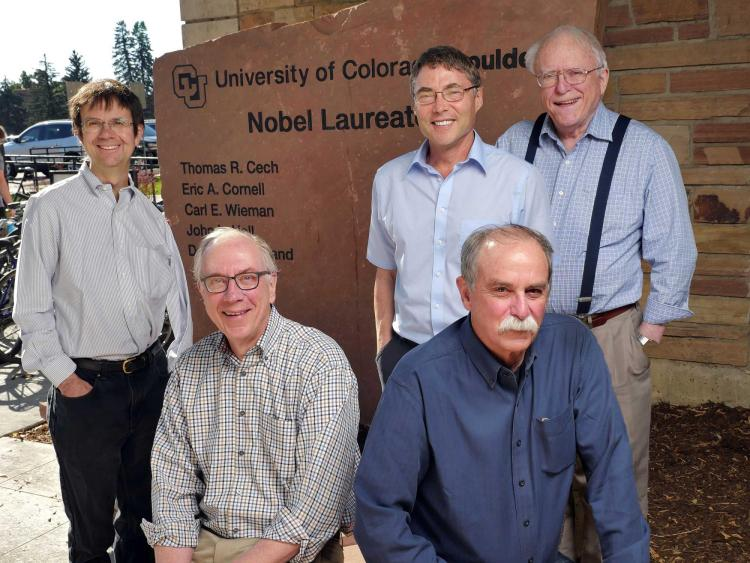 CU Boulder Nobel Prize winners (left to right) Eric Cornell, 2001 Physics; Thomas Cech, 1989 Chemistry;  Carl Wieman 2001 Physics; and David Wineland, 2012 Physics.