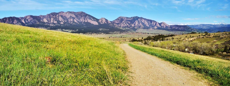 Trail leading to flatiron mountains