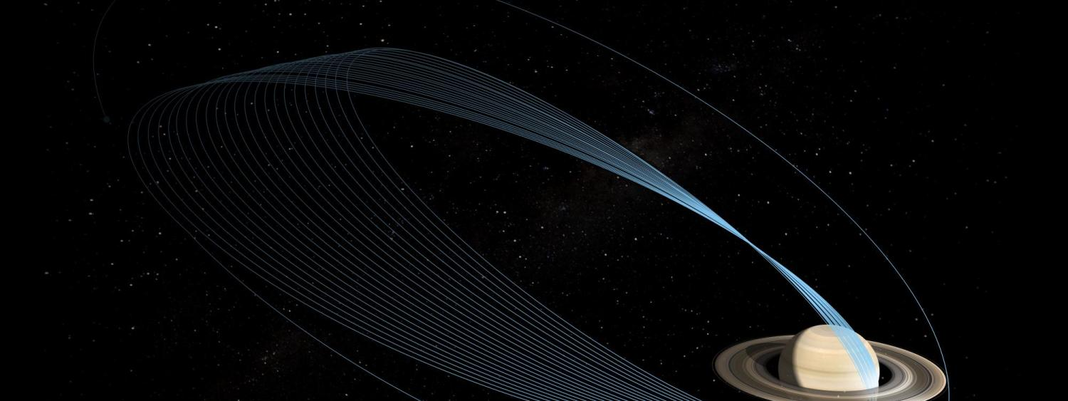 Rendering of Cassini diving into Saturn's rings