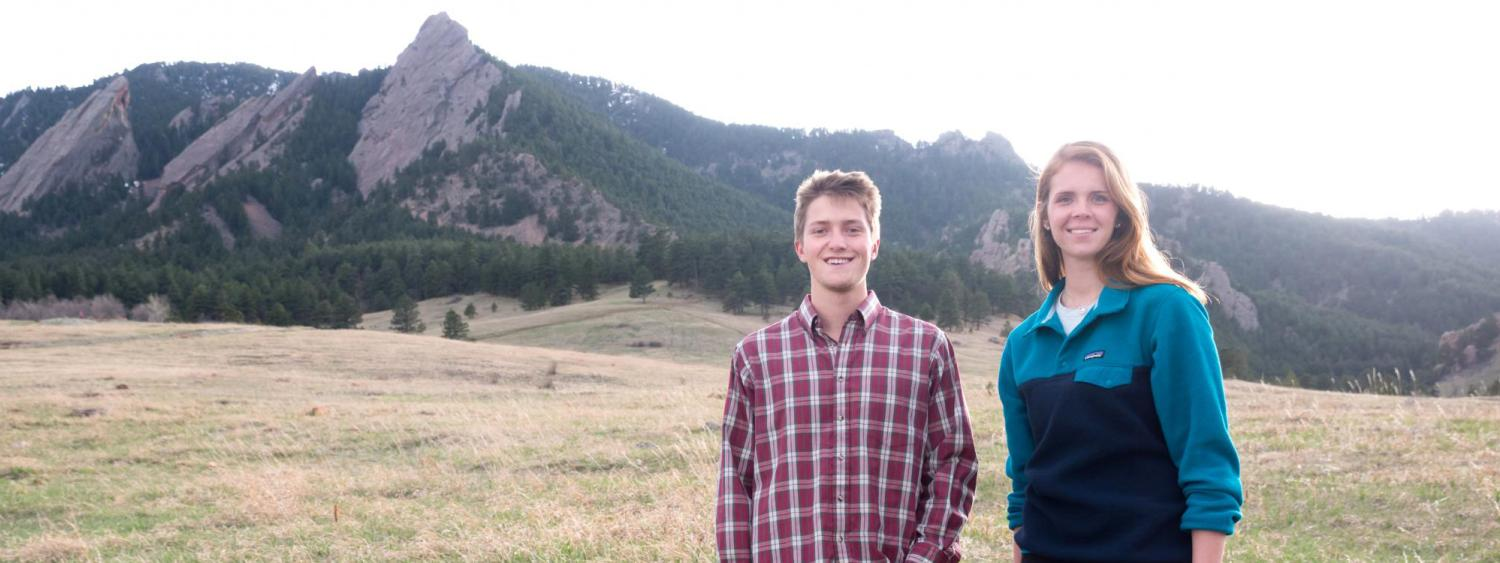 RJ Mooney and Torrey Davis at Chautauqua Park with Flatirons in background