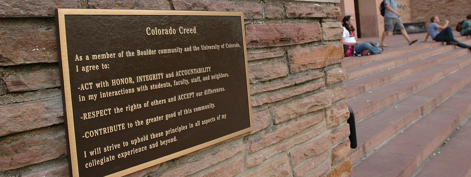 The Colorado Creed displayed on a plaque on main campus