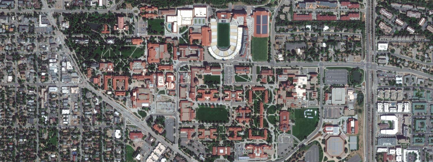 A satellite photograph of the CU Boulder campus and the city of Boulder