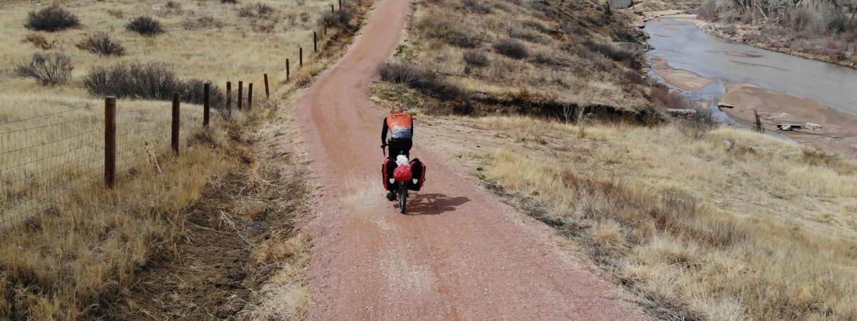 Joep van Dijk travels by bike as part of his journey to CU Boulder