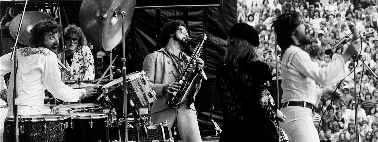 Bob Seger performing at Folsom Field in 1977, photographed by Dan Fong.