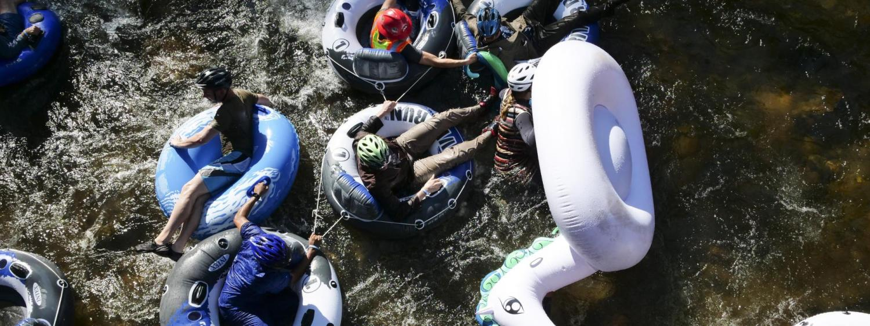 Tubers take the creek to work