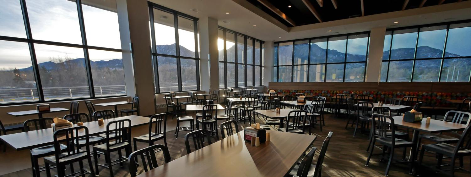 A view of the Flatirons from the Village Center dining commons