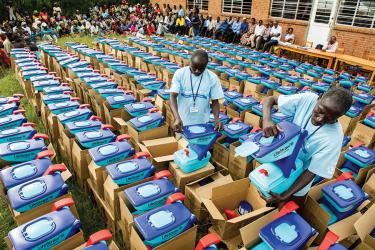 Water filters being removed from boxes in Rwanda