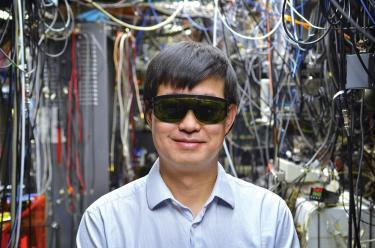 Jun Ye in front of wires