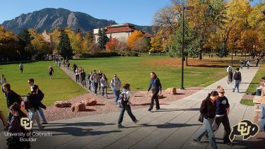 Students walking the Norlin Quad
