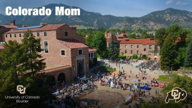 "Dalton Trumbo fountain outside of the UMC with the wording ""Colorado Mom"""
