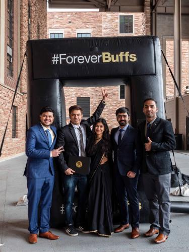 Students by the Forever Buffs celebrating 2021 graduation