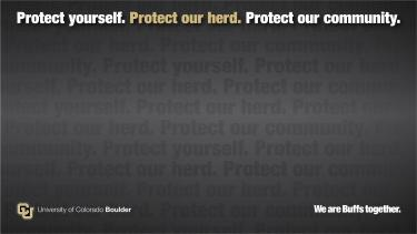 Dark Zoom background that reads Protect yourself. Protect our herd. Protect our community.