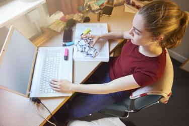 Person working on desk