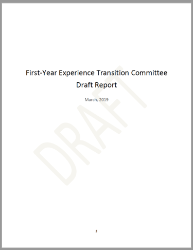 First-Year Experience Transition Committee Draft Report cover