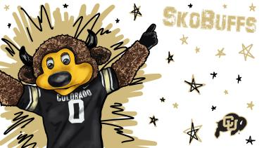 """A drawing of Ralphie with the words """"Sko buffs"""" white background"""