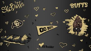 """Drawing of elements from campus - flatirons, Ralphie, hearts, """"sko buffs"""" on a black background"""