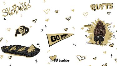 """Drawing of elements from campus - flatirons, Ralphie, hearts, """"sko buffs"""" on a white background"""