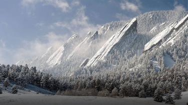 Flatirons during winter with snow
