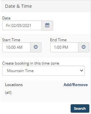 Select the date and time span for your search