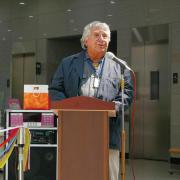 Professor at podium in South Korea