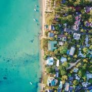 Overhead shot of coastal neighborhood