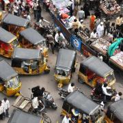 Rickshaws on the street in India