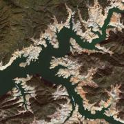 After image of drought-diminished Lake Shasta