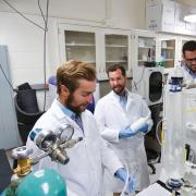 Mark Borden and team members in the lab