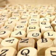 Wooden letter cubes.
