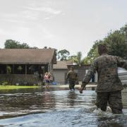 U.S. Marine Corps and Houston resident in Houston flooding