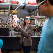 Margaret Murnane teaching a couple of STROBE team members